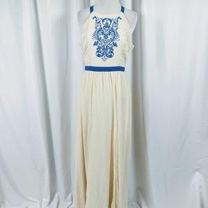 Anthropologie Champagne & Strawberry Maxi Dress